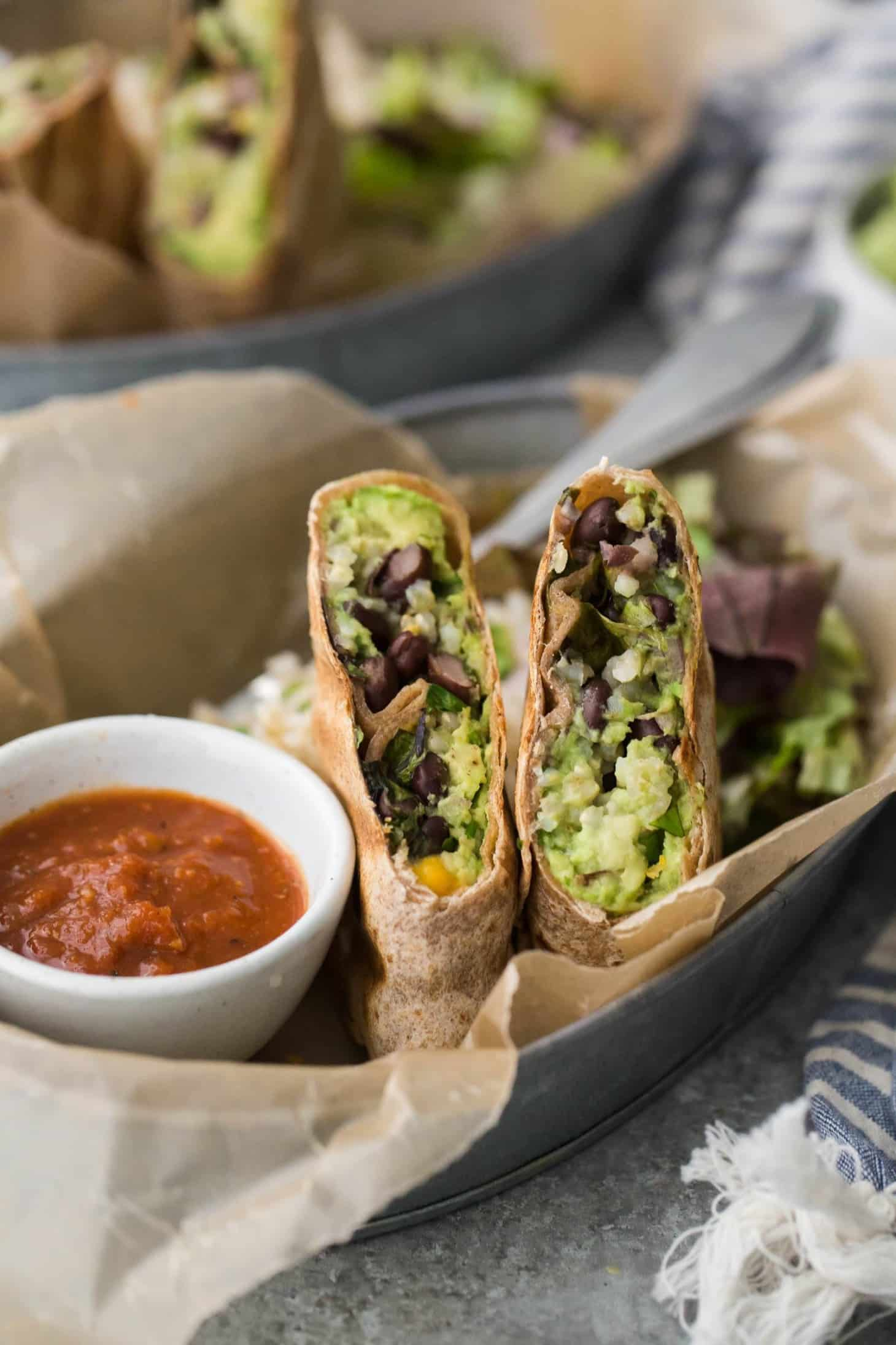Black Bean Burrito with Guacamole