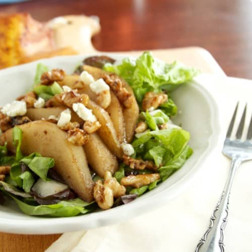 pear walnut and gorgonzola salad roasted pear gorgonzola and honey