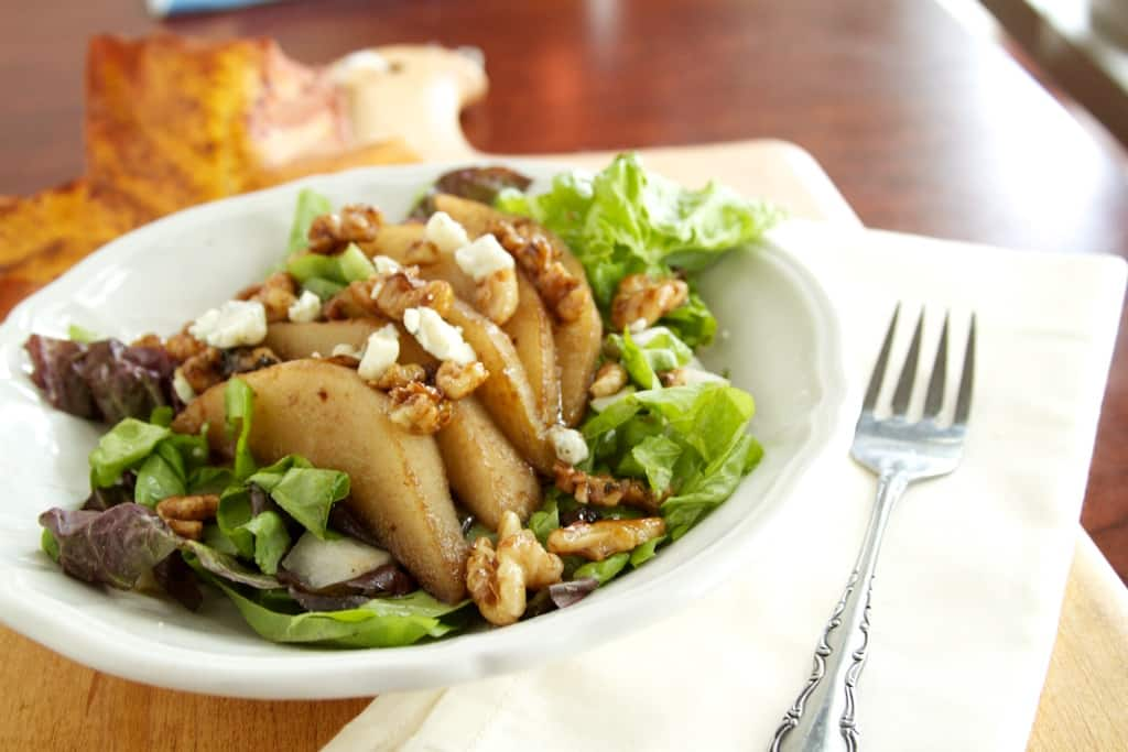 Pear, Walnut, and Gorgonzola Salad | Naturally Ella