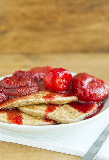 Hazelnut Pancakes with Roasted Rhubarb Cardamom Compote: Spring Recipe