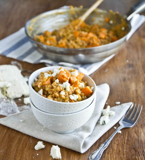 Sweet Potato and Gorgonzola Farro Risotto | Naturally Ella