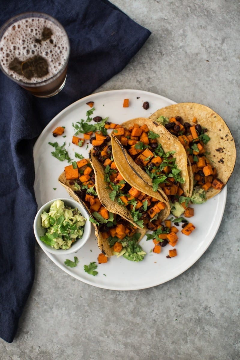 Black Bean and Chipotle Sweet Potato Tacos with Guacamole