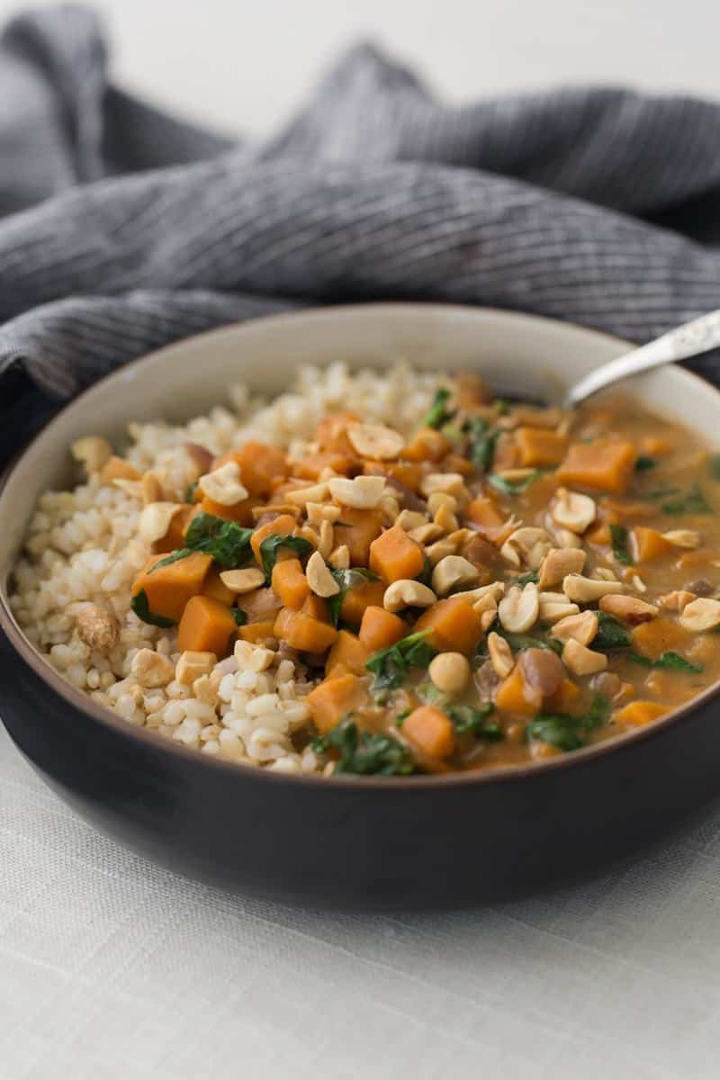 Sweet Potatoes and Spinach Peanut Stew