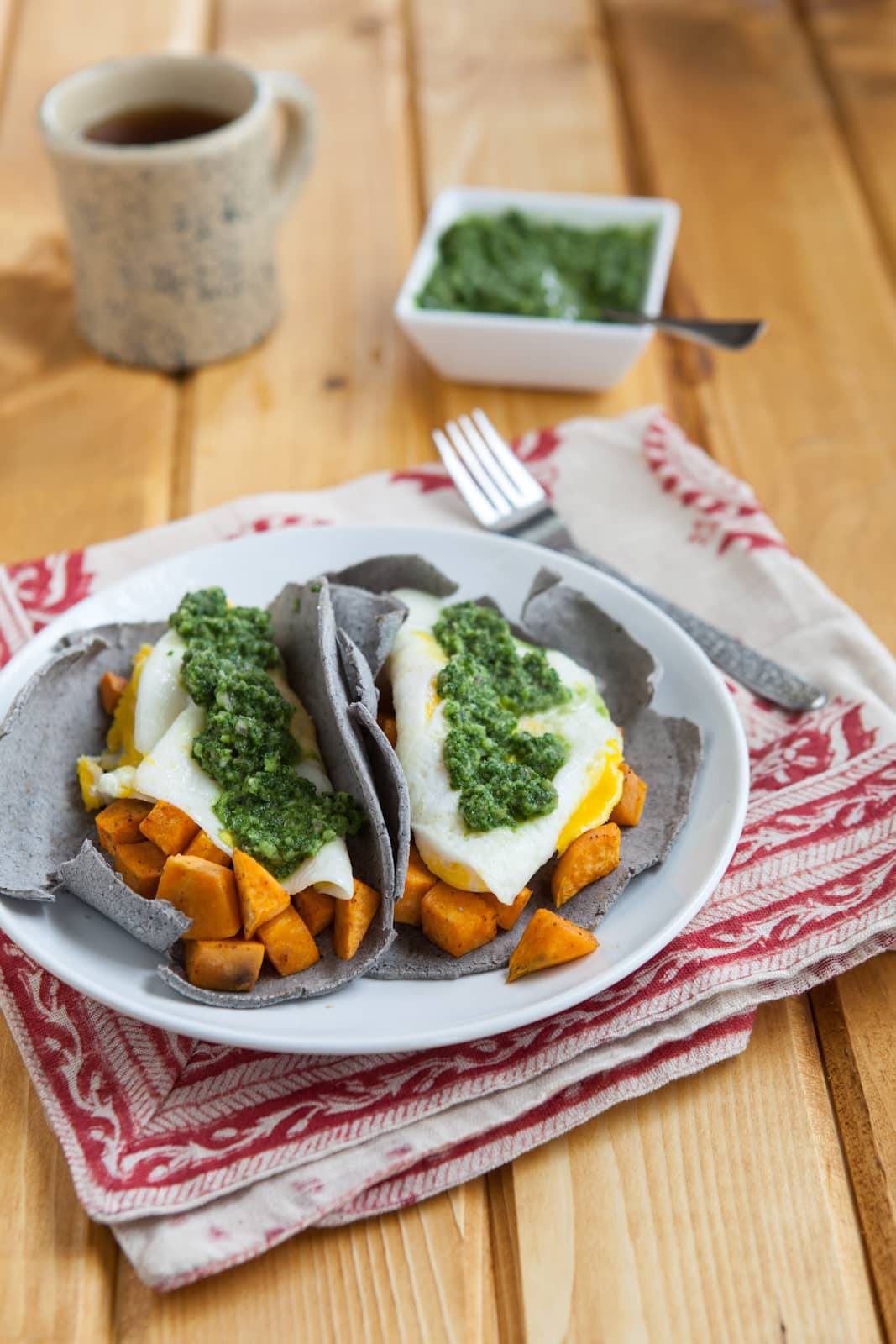 Breakfast Tacos with Kale-Cilantro Chimichurri Sauce | Naturally Ella