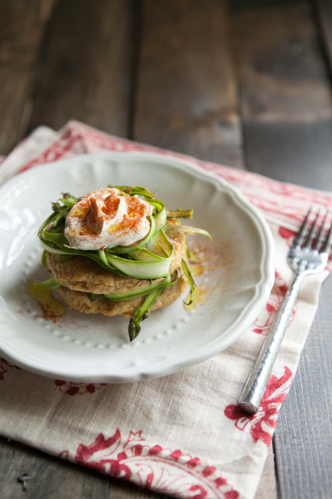 Chickpea Cakes with Shaved Asparagus and Yogurt | @naturallyella