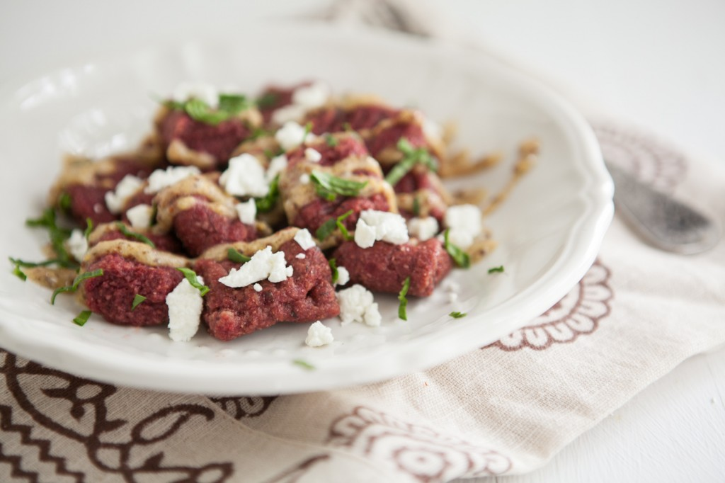 Beet Gnocchi with Mustard Sauce and Goat Cheese: Spring Beet Recipe