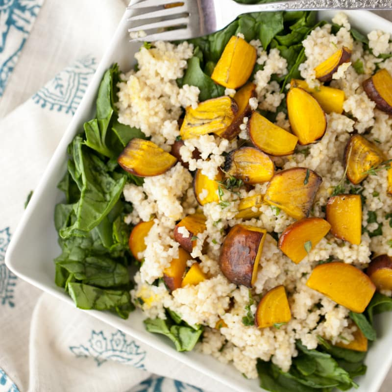 Roasted Golden Beet and Millet Spinach Salad with Herb Dressing