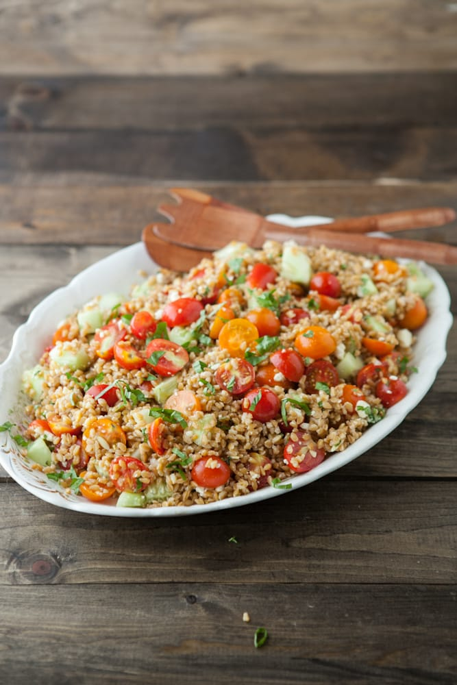 Lemony Farro Salad With Basil And Tomatoes Recipe — Dishmaps