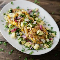 corn cakes with zucchini salsa