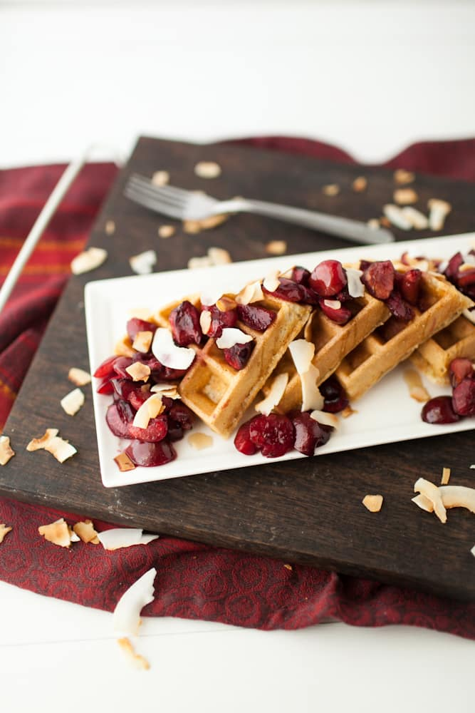 Coconut Waffles with Roasted Maple Cherries