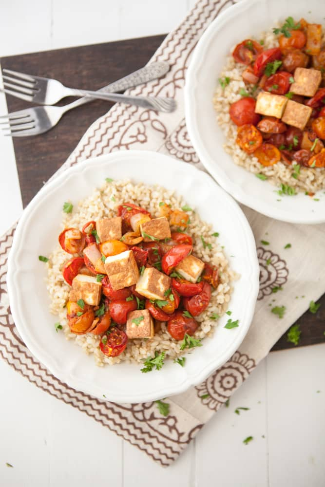 Roasted Curried Tomatoes With Fried Paneer And Rice Recipe ...