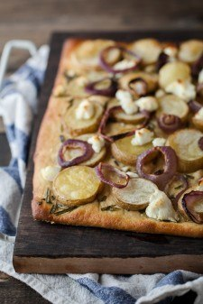 Roasted Potato Pizza with Goat Cheese | http://naturallyella.com