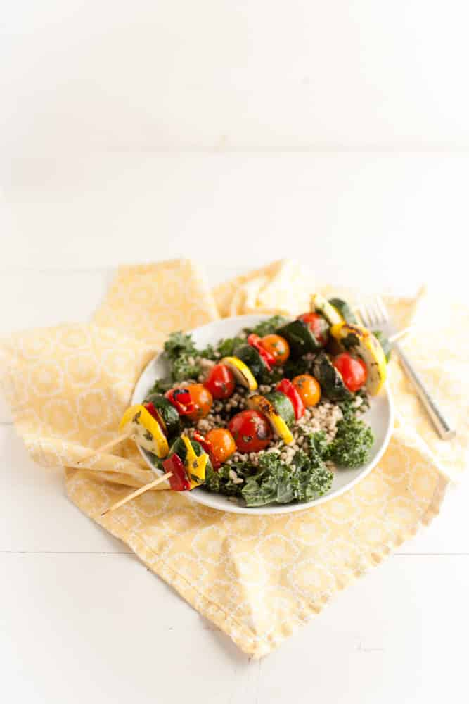 Cilantro-Lime Marinated Veggie Kabobs With Barley Kale Salad Recipe ...