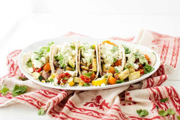 Vegetarian Tacos with Avocado Cream | http://naturallyella.com