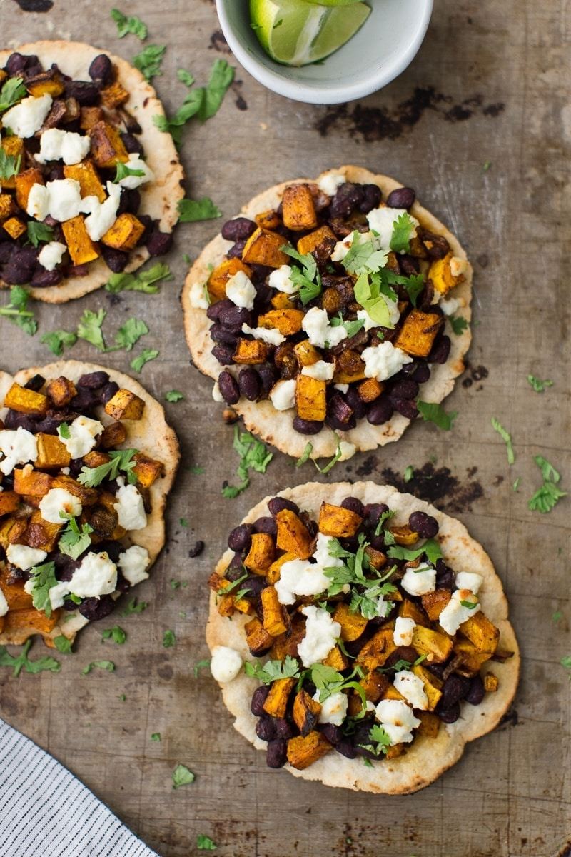 Black Bean Tostadas with Chipotle Butternut Squash and Goat Cheese | http://naturallyella.com