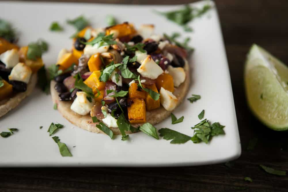 Chipotle Butternut Squash, Black Beans, and Goat Cheese Tostadas
