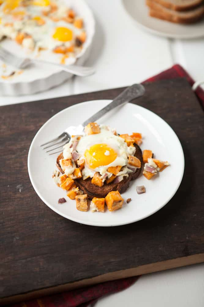Roasted Sweet Potatoes, Gorgonzola, and Baked Eggs