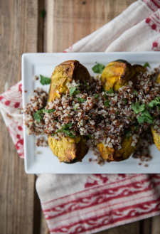 Curry Marinated Acorn Squash with Cilantro Quinoa