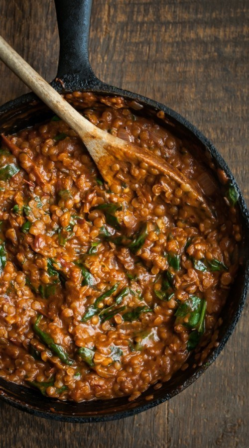 Red Lentils Masala with Spinach | Naturally Ella