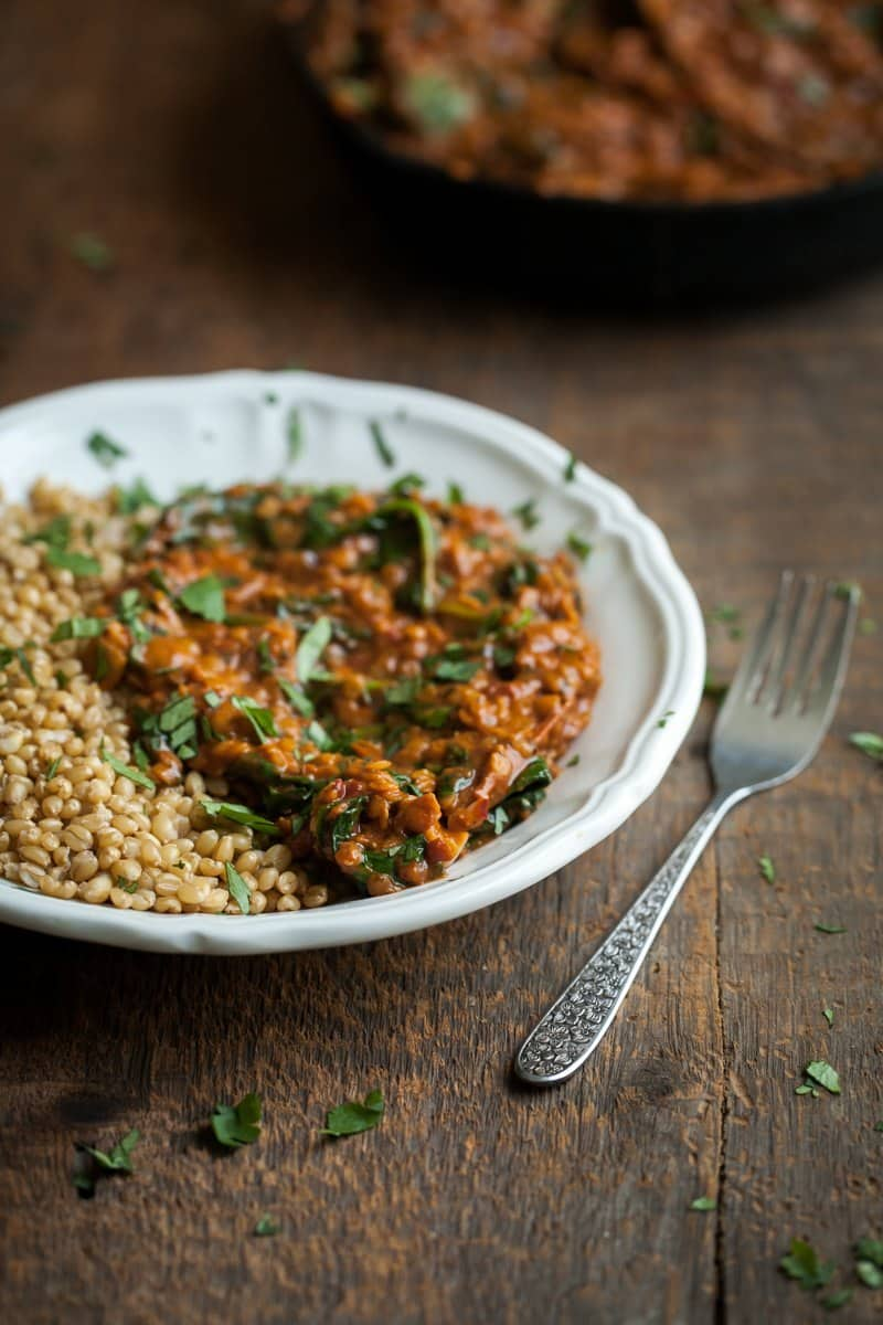 Red Lentils Masala with Spinach Served with Brown Rice