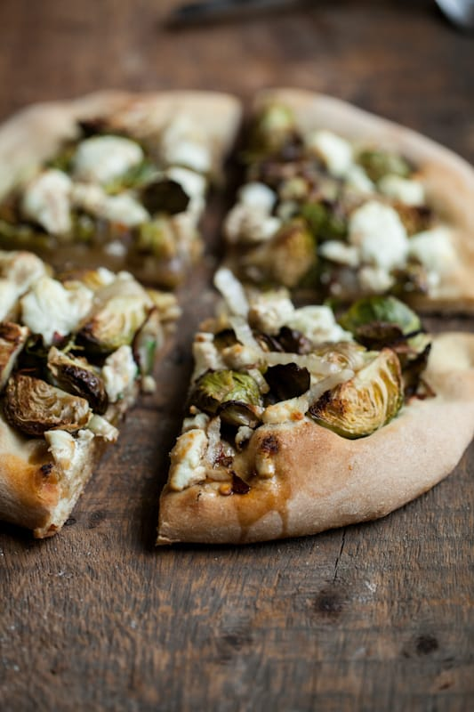 Roasted Brussels Sprouts and Goat Cheese Pizza