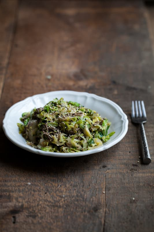 Shaved Brussels Sprouts And Soba Noodles With Ginger-Honey Sauce ...