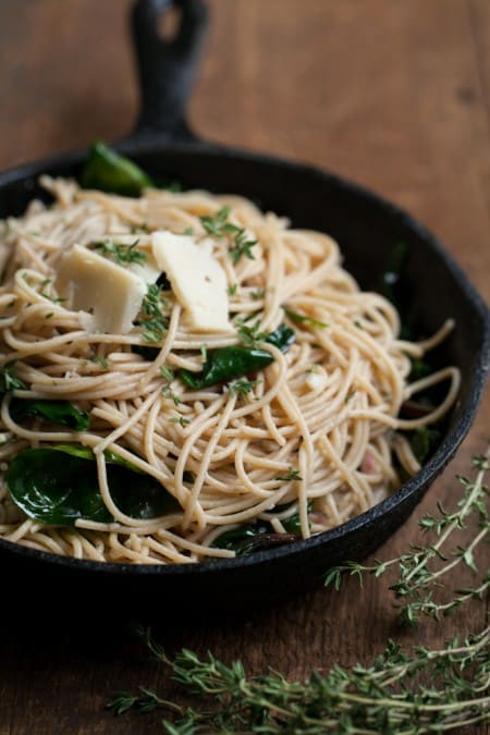 Garlic-Butter Pasta with Spinach and Parmesan | @naturallyella