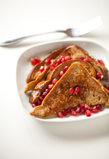 French Toast with Honey-Orange Butter and Pomegranate Seeds