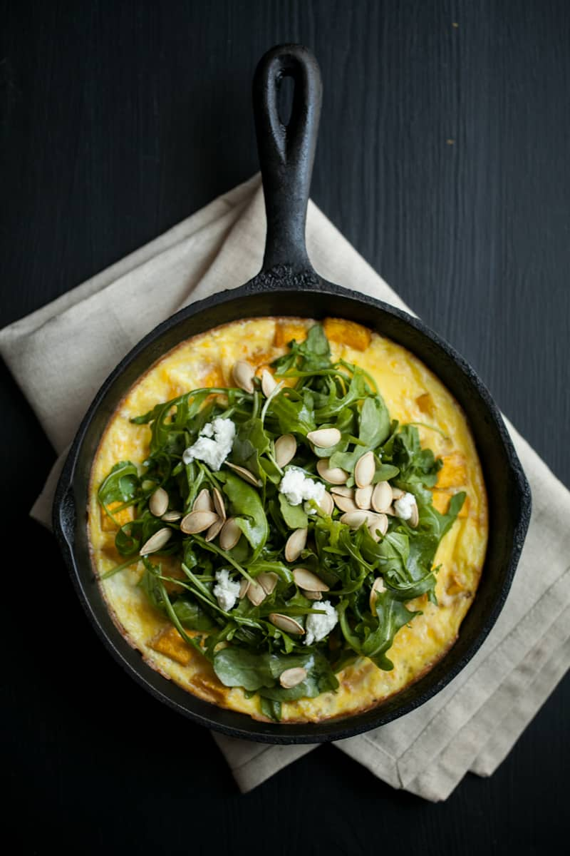 Roasted Pumpkin Frittata with Arugula Salad