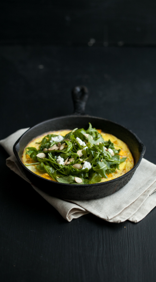 Roasted Pumpkin and Goat Cheese Frittata with Arugula Salad