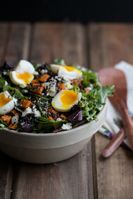 Sweet Potato + Quinoa Salad with Soft Boiled Eggs -- healthy, hearty ...
