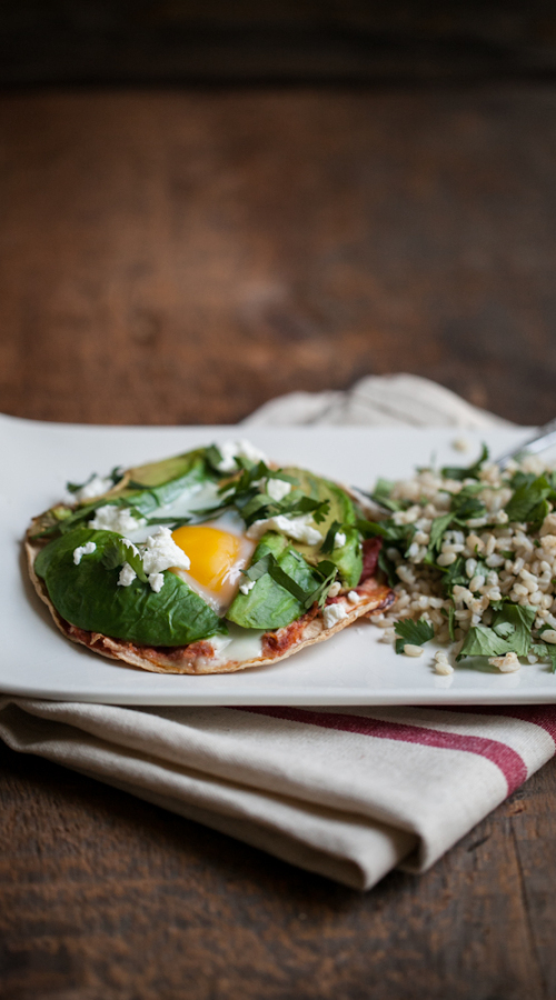 Baked Egg and Avocado Tostadas