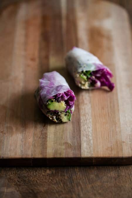 Sesame Crusted Avocado and Cabbage Spring Rolls