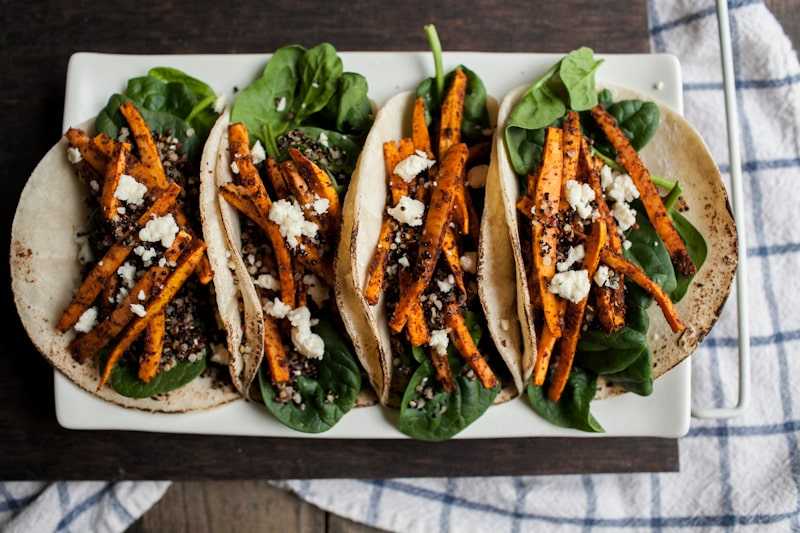 Crispy Quinoa and Mole Sweet Potato Tacos