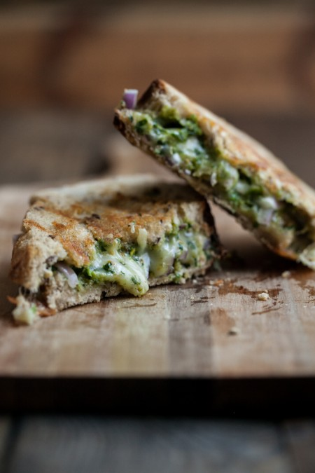 Pistachio Parsley Pesto and Grilled Taleggio Cheese Sandwich