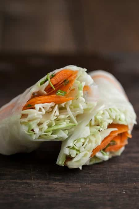 Cilantro-Lime Carrot and Cabbage Spring Rolls