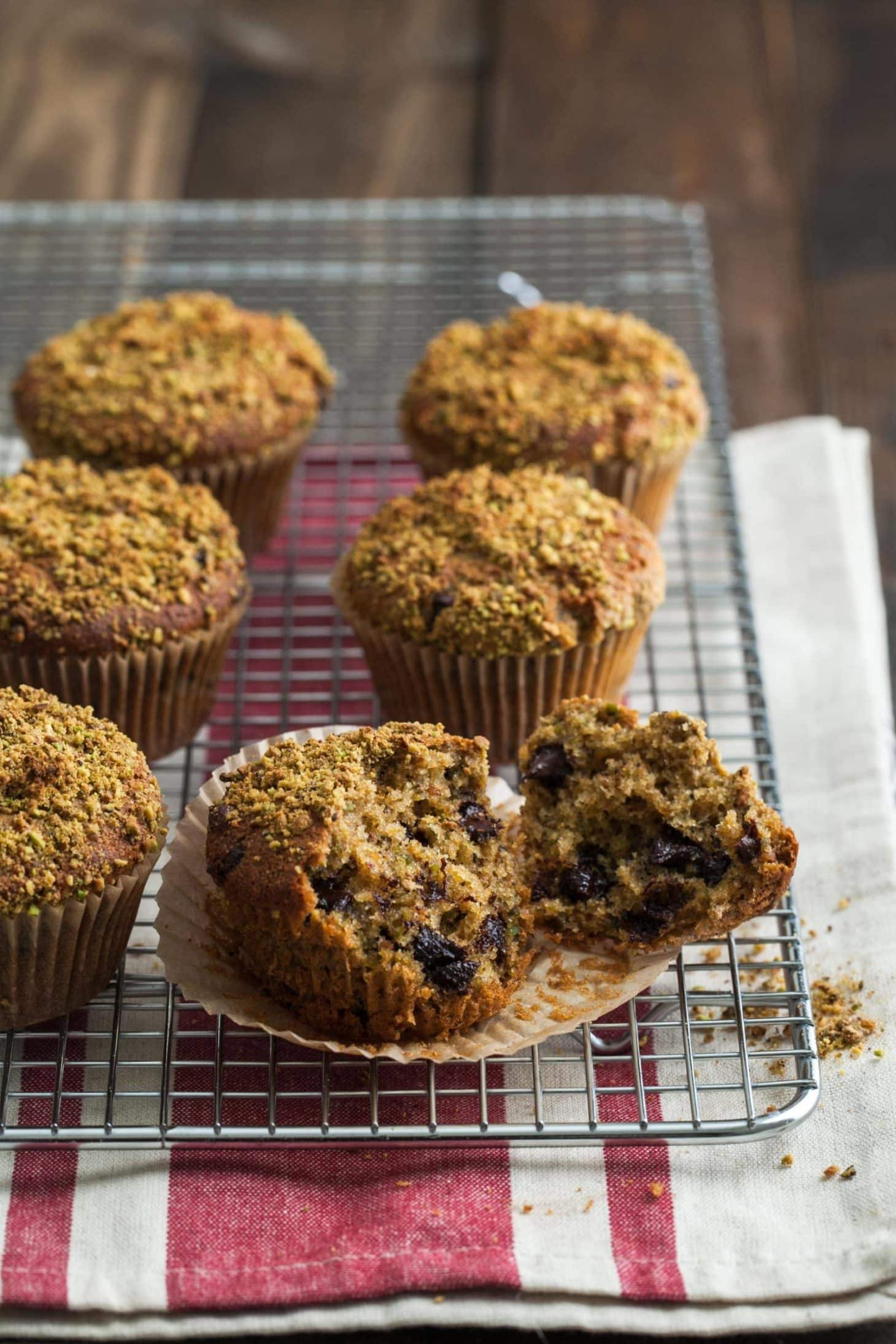 Pistachio Muffins with Dark Chocolate Chips
