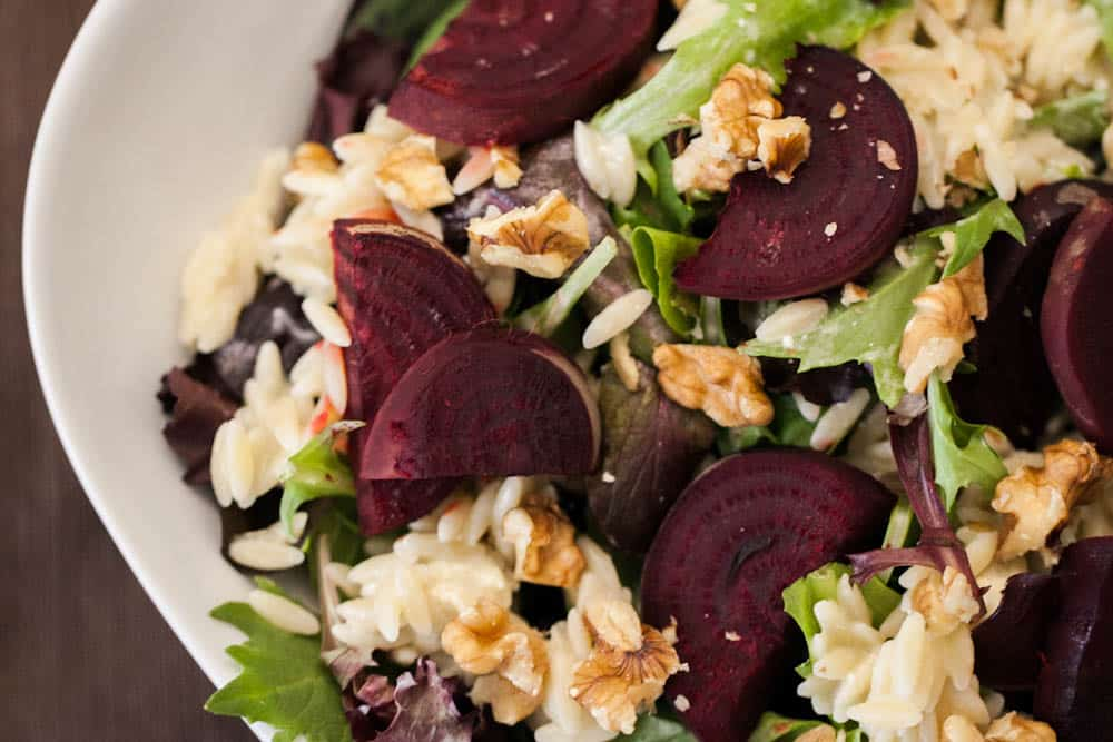 Roasted Beets, Blue Cheese Orzo, & Walnut Salad