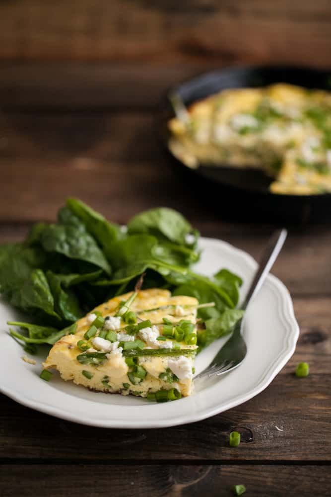 Roasted Asparagus, Green Onion, and Blue Cheese Frittata