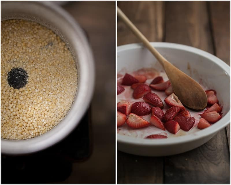 Creamy Millet Porridge with Roasted Strawberries
