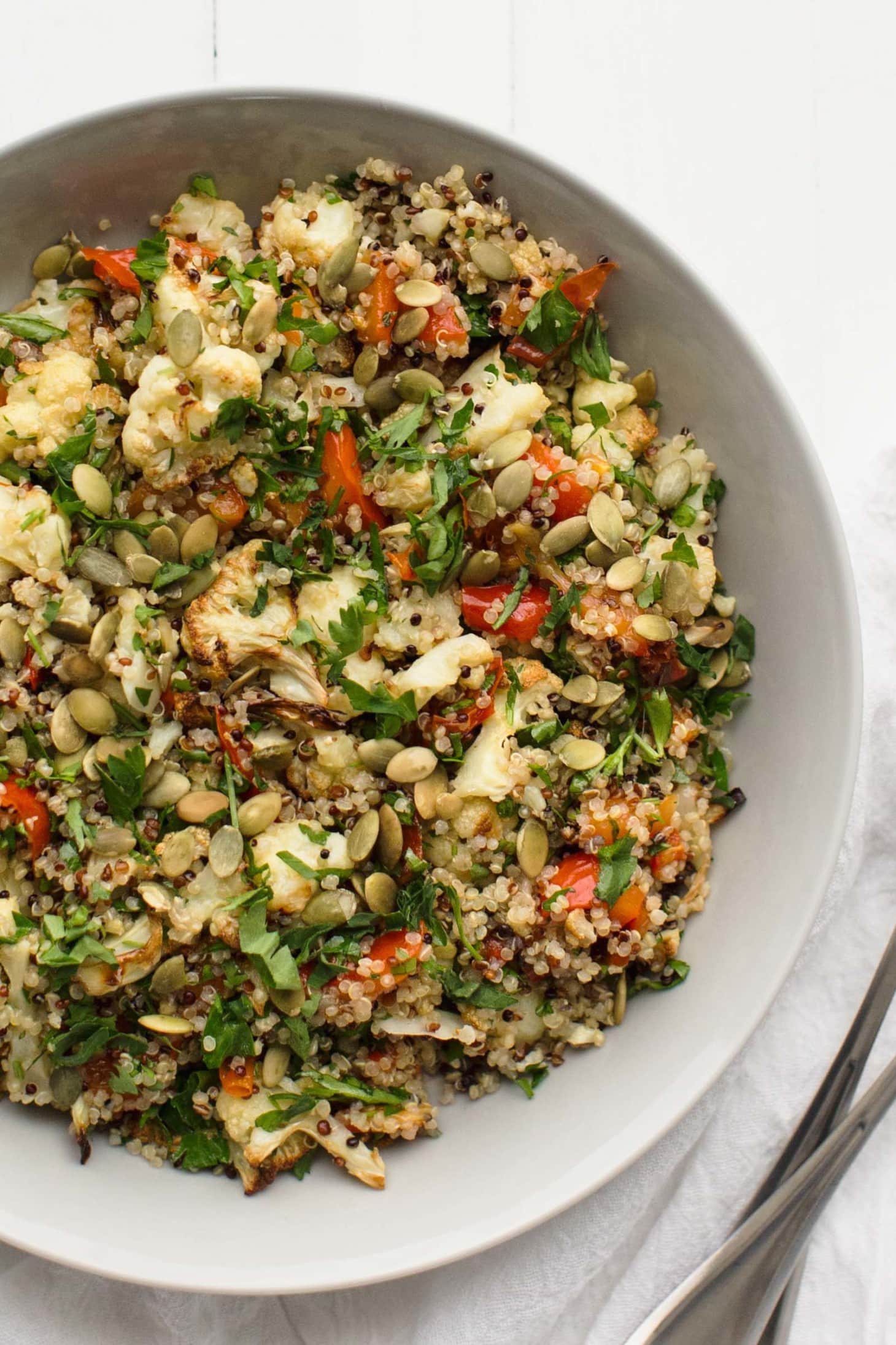 Caramelized Cauliflower Salad with Quinoa and Roasted Red Pepper