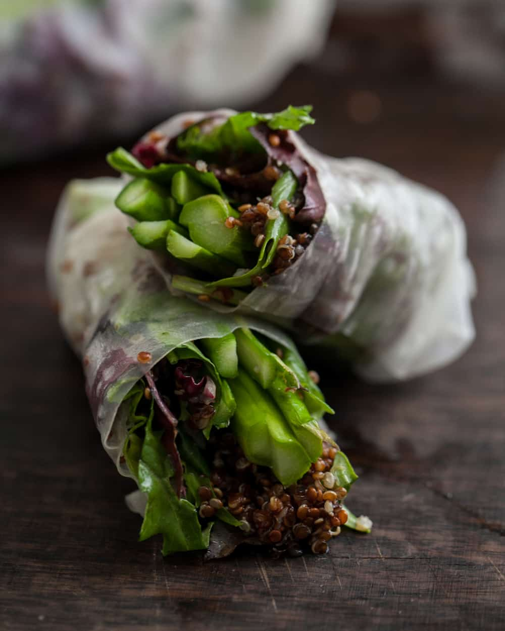 Grilled Asparagus and Chili-Orange Quinoa Spring Rolls.