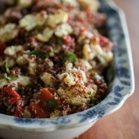 Caramelized Cauliflower, Roasted Red Pepper, and Quinoa Salad | @naturallyella