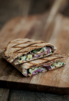 Grilled Corn, Onion, and Whipped Cilantro Goat Cheese Quesadilla