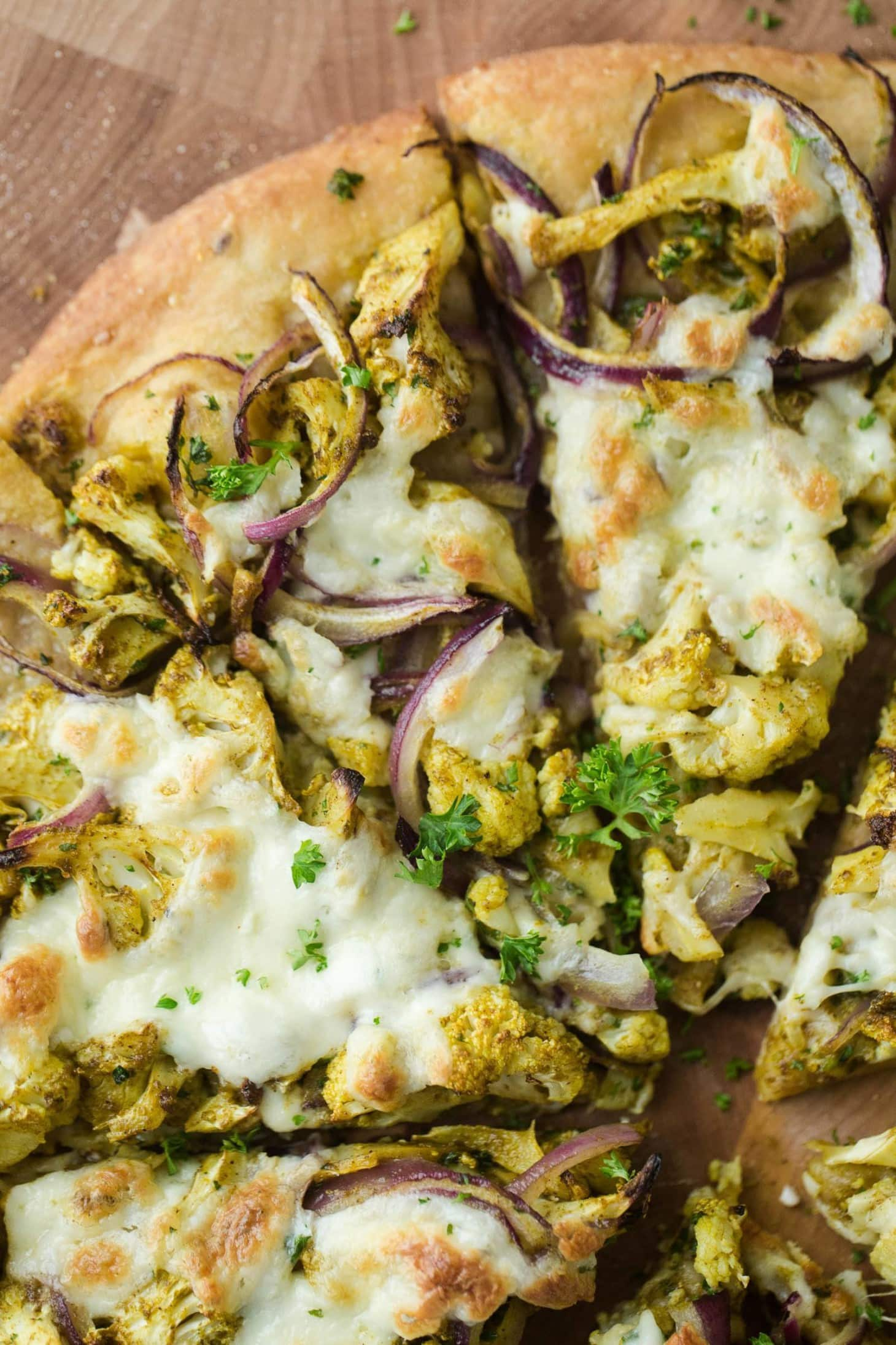 Pizza with Curry Roasted Cauliflower
