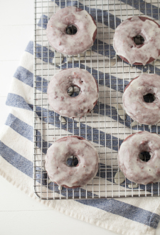 Blackberry Doughnuts with Vanilla Bean Icing