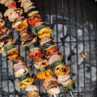 Honey Mustard Veggie Kabobs with Garlic Quinoa