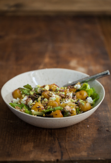 Roasted Cherry, Barley, and Goat Cheese Salad