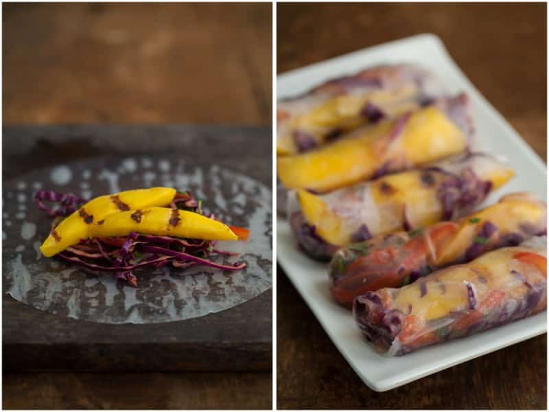 Grilled Mango and Spicy Cabbage Spring Rolls