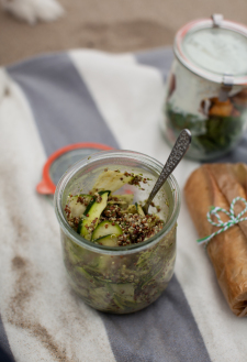 Zucchini Ribbon, Lentil, and Pesto Salad